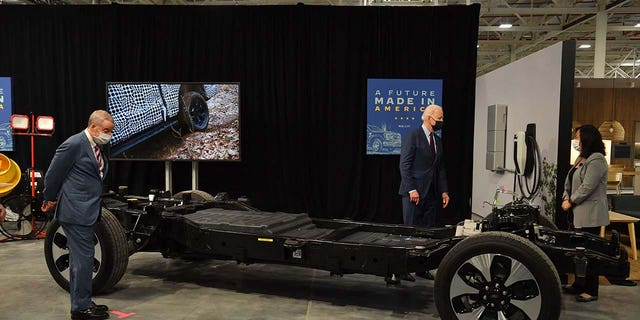 President Biden got a look at the F-150 Lightning's electric chassis.