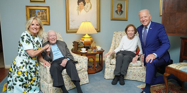 First Lady Jill and President Joe Biden visit with former President Jimmy Carter and former First Lady Rosalynn Carter on April 29, 2021 at the Carters' home in Georgia.
