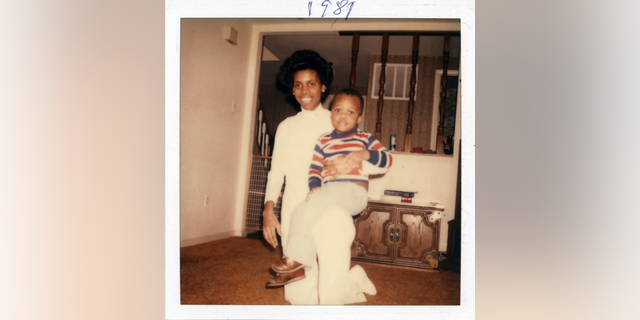 Janice Chance holding 3-year-old Jesse at their home in Maryland in 1981.