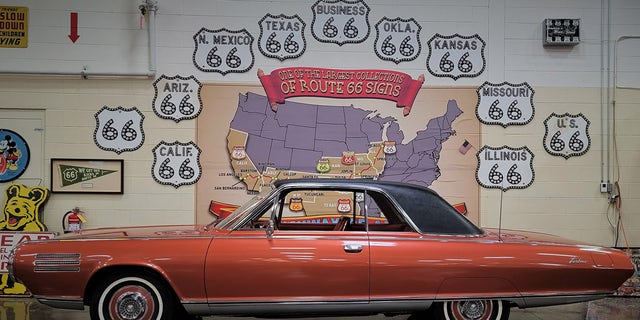 The Chrysler Turbine Car is on display at the Stahl Automotive Foundation