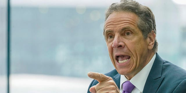 New York Gov. Andrew Cuomo speaks during a news conference, Tuesday, May 11, 2021, in New York. (AP Photo/Mary Altaffer)