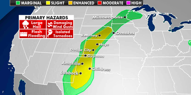 The threat of severe weather Monday. (Fox News)