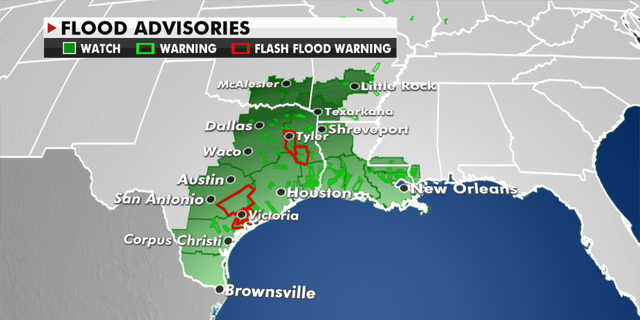 Flood warnings currently in force.  (Fox News)