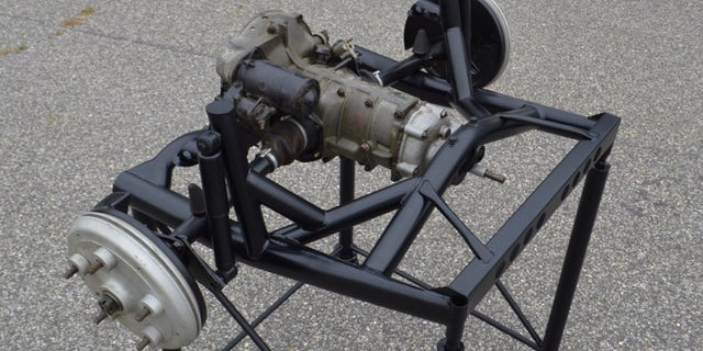 The transaxle has been mounted on a display frame.