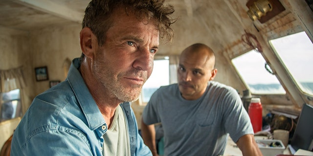 (L-R) Dennis Quaid as Captain Wade Malloy, Jimmy Gonzales as Omar in 'Blue Miracle.'