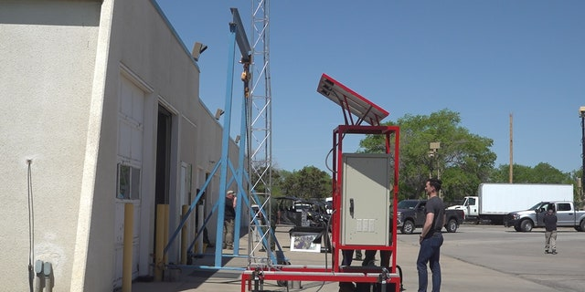 New portable emergency distress towers will help migrants call for help. It's a 20-foot solar powered device with instructions in English and Spanish. (Stephanie Bennett/Fox News)