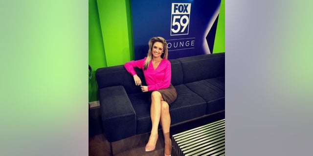 Thackston works as an early morning news anchor at Fox 59. Here she's pictured prior to her cancer journey.