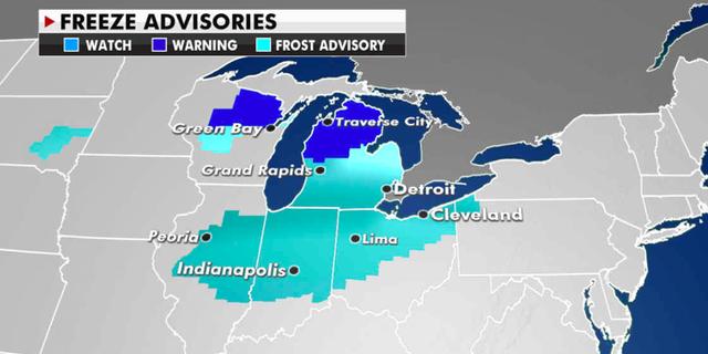 Freeze advisories in effect Monday. (Fox News)