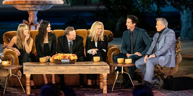 Friends Reunion special featuring Jennifer Aniston, Courteney Cox, Matthew Perry, Lisa Kudrow, David Schwimmer, and Matt LeBlanc.