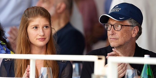Bill Gates and his daughter Jennifer Gates, left, participate in the Global Champions Tour of Monaco in Port de Hercule on June 30, 2018 in Monte-Carlo, Monaco.