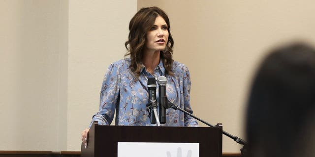 South Dakota Gov. Kristi Noem speaks at a Stronger Families Together event on May 11, 2021. (Photo courtesy of Noem's office)