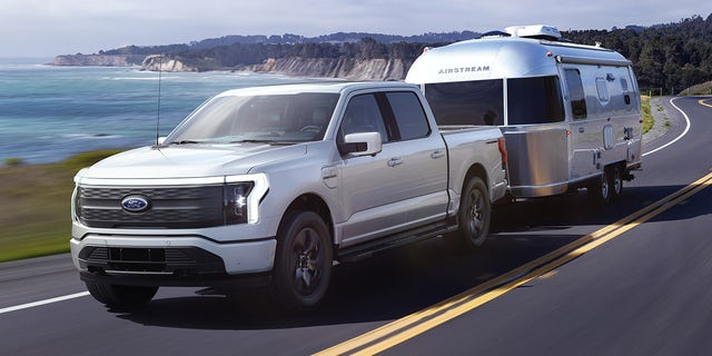 The F-150 Lightning can tow up to 10,000 pounds.