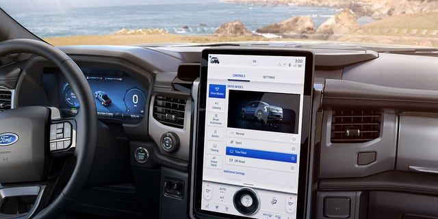 The F-150 Lightning offers a 15.5-inch touchscreen infotainment system.
