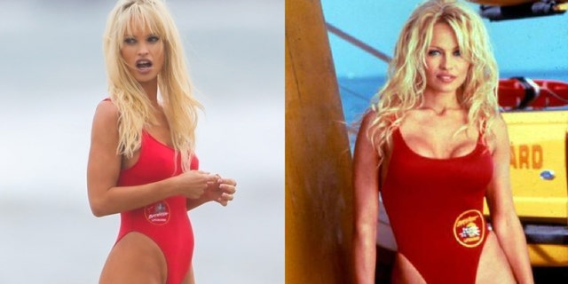 Lily James stuns in iconic red 'Baywatch' swimsuit as Pamela Anderson for TV series.jpg