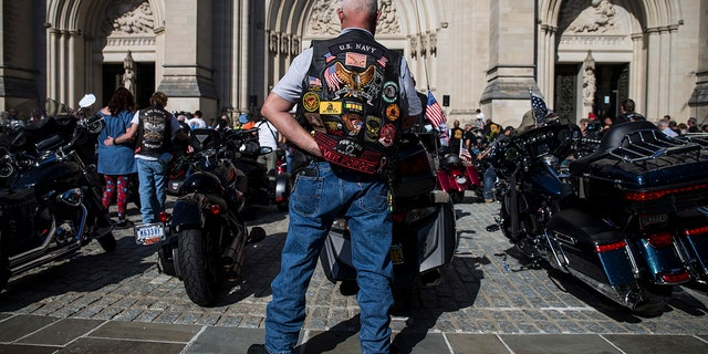 .Bikers participate in a blessing of the bikes event at the Washington National Cathedral on May 24, 2019 in Washington, D.C.