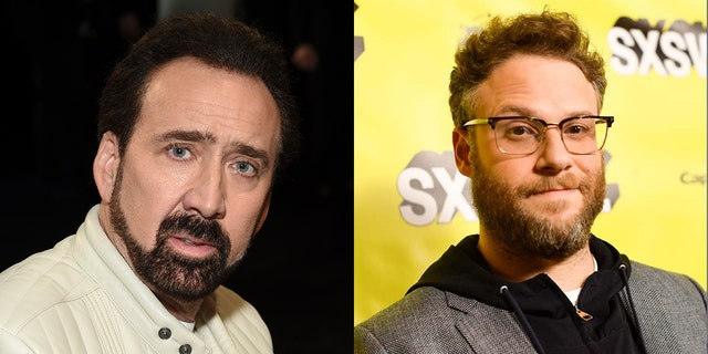 Seth Rogen, right, recalled a time where Nicolas Cage left a dinner after Rogen shot down his character pitch.