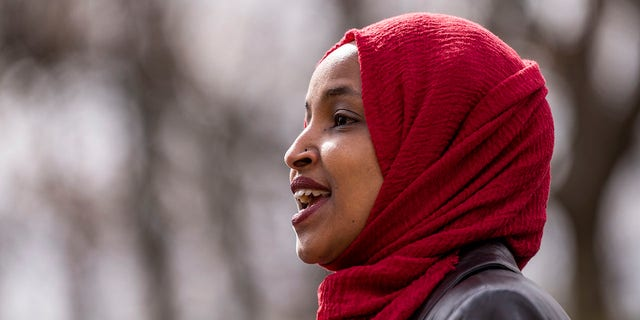 Rep. Ilhan Omar, D-Minn., speaks during a press conference at a memorial for Daunte Wright on April 20, 2021 in Brooklyn Center, Minnesota. Omar is at the center of a controversy in the House Democratic caucus that revolves around comments she recently made about Israel. (Photo by Stephen Maturen/Getty Images)