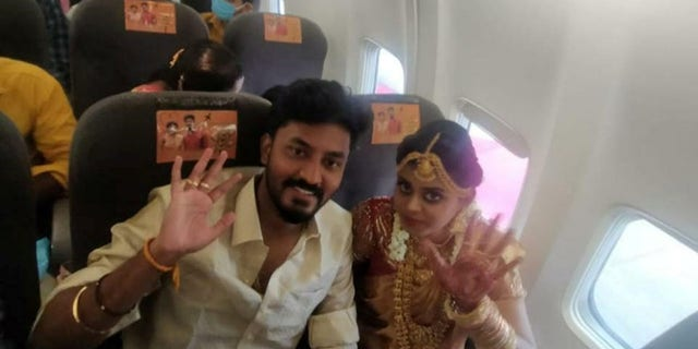 A couple named Rakesh and Dakshina booked a flight on a SpiceJet plane for their wedding ceremony.