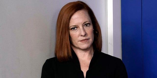 """白宫新闻秘书简·普萨基(Jane Psaki)于2021年5月14日抵达华盛顿白宫的新闻发布会。普萨基本周没有透露以色列对哈马斯的回应是否是以色列的回应。 """"不成比例的。"""" 美国摄影师尤里·格里巴斯(Yuri Gribas)/保罗/汽巴(Ciba)摄影,请勿使用德国。"""