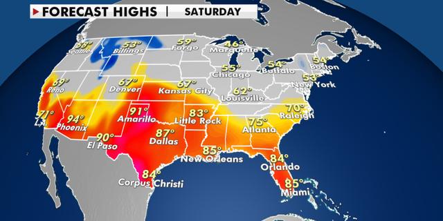 Forecast high temperatures for Saturday. (Fox News)