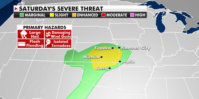 The threat of severe weather on Saturday. (Fox News)