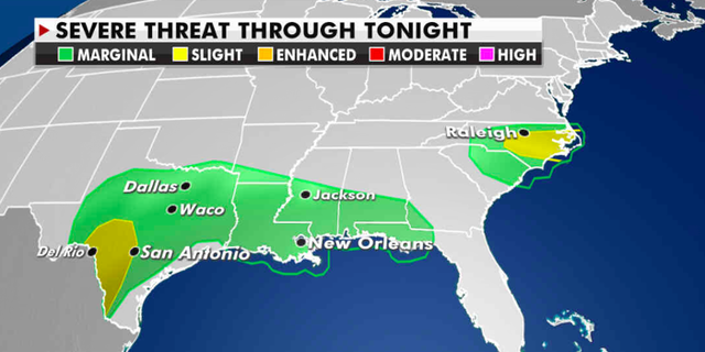 The severe weather threat for Monday. (Fox News)