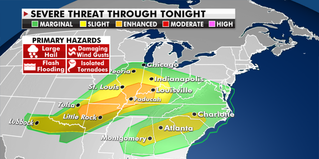 Storm threats throughout Monday, May 3. (Fox News)