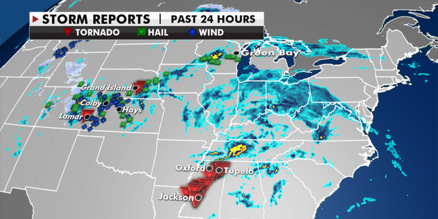 Storm reports from Sunday, May 2, into Monday, May 3. (Fox News)