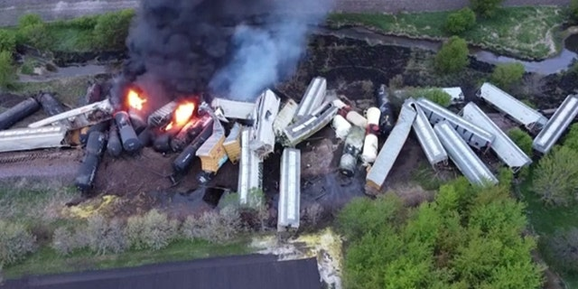 The rail derailment in Sibley, Iowa, involved nearly 50 wagons, officials said.