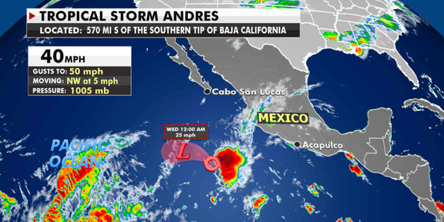 The current location of Tropical Storm Andres. (Fox News)