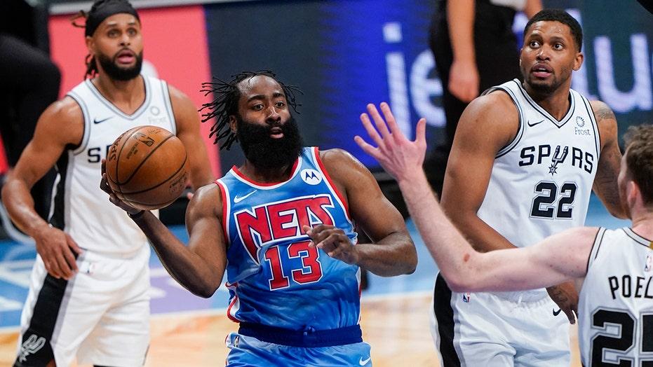 Harden returns to score 18 points, Nets beat Spurs 128-116
