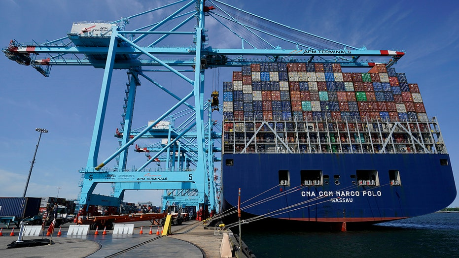 Largest container ship on East Coast docks in New Jersey