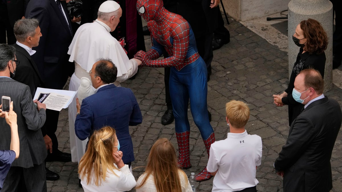 Spider-Man swings through the Vatican to meet Pope Francis