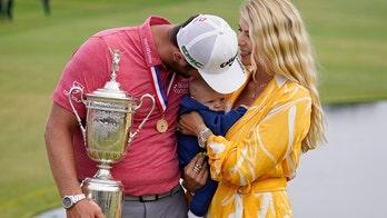 Jon Rahm celebrates US Open victory with wife, newborn son