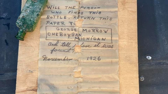 Michigan boat captain finds 95-year-old message in a bottle: 'We were all in shock'
