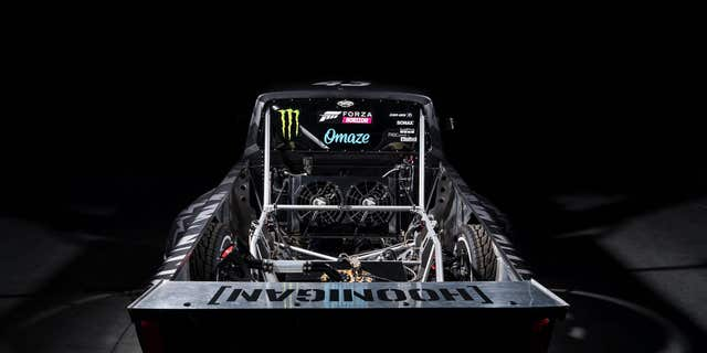 """The Hoonicorn's """"bed"""" exposes the frame and rear mechanicals."""