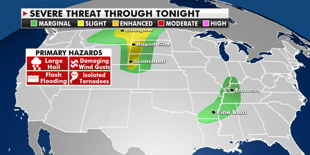 The severe weather threat for today. (Fox News)