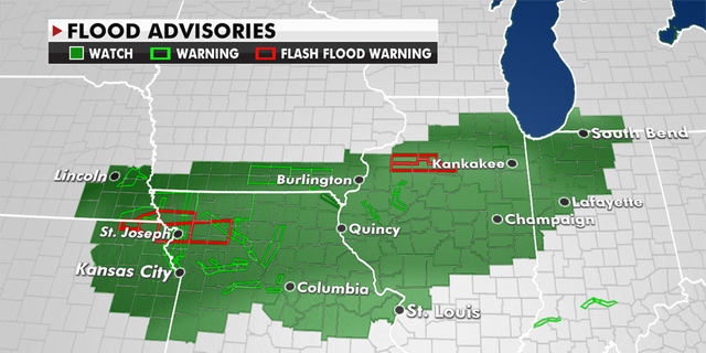 Flood Watches are valid from Kansas City to St. Louis