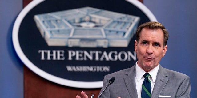 Pentagon spokesman John Kirby speaks during a media briefing at the Pentagon in Washington, martedì, giugno 1, 2021. (AP Photo / Andrew Harnik)