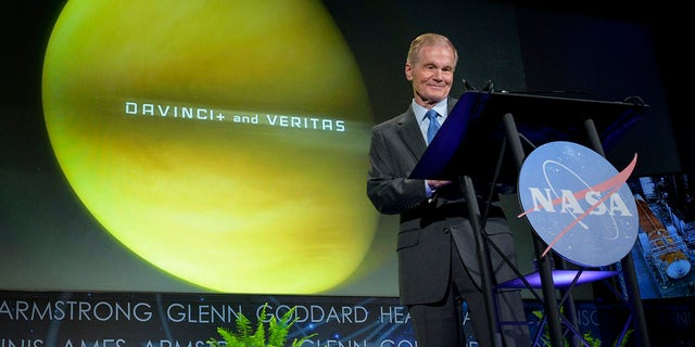In this photo provided by NASA, Administrator Bill Nelson speaks during his first major address to employees, at the agency's headquarters in the Mary W. Jackson Building in Washington on Wednesday, June 2, 2021. He spoke about the plans for future Earth-focused missions to address climate change and a robotic and human return to the Moon through the Artemis program, as well as announcing two new planetary science missions to Venus – VERITAS and DAVINCI+. (NASA/Bill Ingalls)