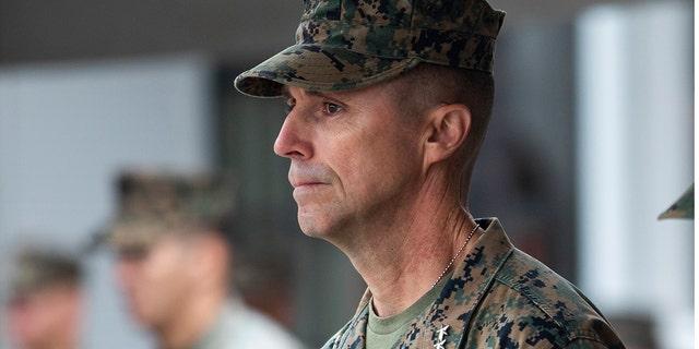 U.S. Marine Maj. Gen. Robert F. Castellvi is shown during a ceremony at Marine Corps Base Camp Pendleton in California on Sept. 11, 2020. (Cpl. Jailine L. AliceaSantiago/U.S. Marine Corps via AP)