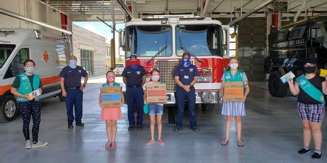 The Girl Scouts of New Mexico Trails also donated cookies to firefighters in Los Lunas, New Mexico. (Girl Scouts of New Mexico Trails via AP)