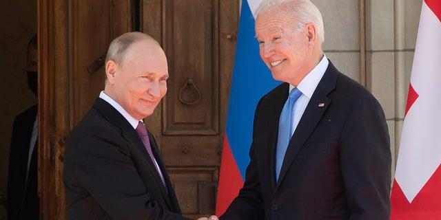 President Joe Biden and Russian President Vladimir Putin, arrive to meet at the 'Villa la Grange', Wednesday, June 16, 2021, in Geneva, Switzerland. (Saul Loeb/Pool via AP)