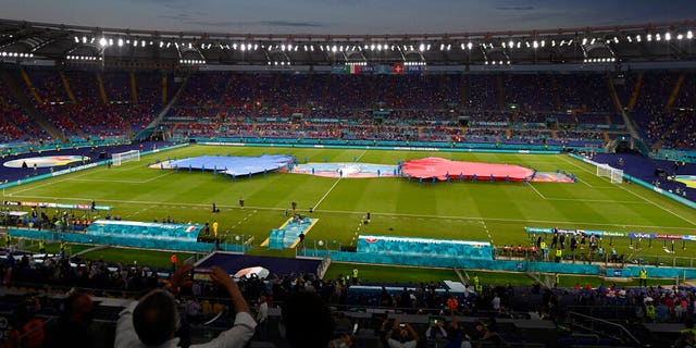 A view of the stadium prior of the Euro 2020 soccer championship group A match between Italy and Switzerland at the Rome Olympic stadium, Wednesday, June 16, 2021. (AP Photo/Riccardo Antimiani, Pool)