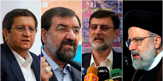 This combination of four photos shows candidates for the June 18, 2021, Iranian presidential elections from left to right; Abdolnasser Hemmati, Mohsen Rezaei, Amir Hossein Ghazizadeh Hashemi and Ebrahim Raisi. Iranians will vote Friday on who should be the country's next president amid tensions with the West over its tattered nuclear deal with world powers. (AP Photo)