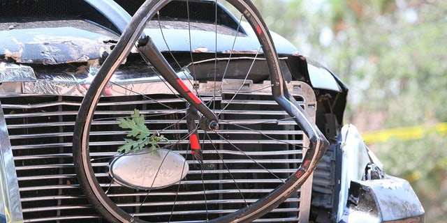 This Saturday, June 19, 2021, a photo courtesy of The White Mountain Independent is a pickup truck that ran over a group of cyclists in Show Low, Arizona.