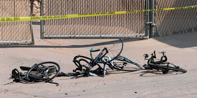 This Saturday, June 19, 2021, photo courtesy The White Mountain Independent shows the broken bike accident site in Show Low, Arizona.