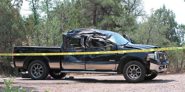 This Saturday, June 19, 2021, a photo courtesy of The White Mountain Independent shows a damaged pickup truck that ran over a group of cyclists in Show Low, Arizona.