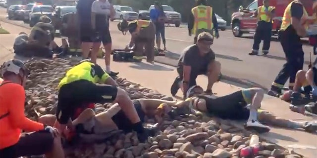 This photo provided by Tony Quinones shows the aftermath of a truck ramming into a crowd of bikers in Show Low, Ariz on Saturday June 19, 2021.
