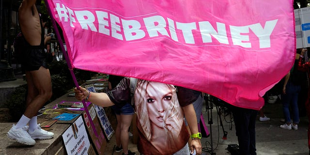 A Britney Spears supporter waves a 'Free Britney' flag outside a court hearing concerning the pop singer's conservatorship at the Stanley Mosk Courthouse, Wednesday, June 23, 2021, in Los Angeles, Calif. (AP Photo/Chris Pizzello, File)